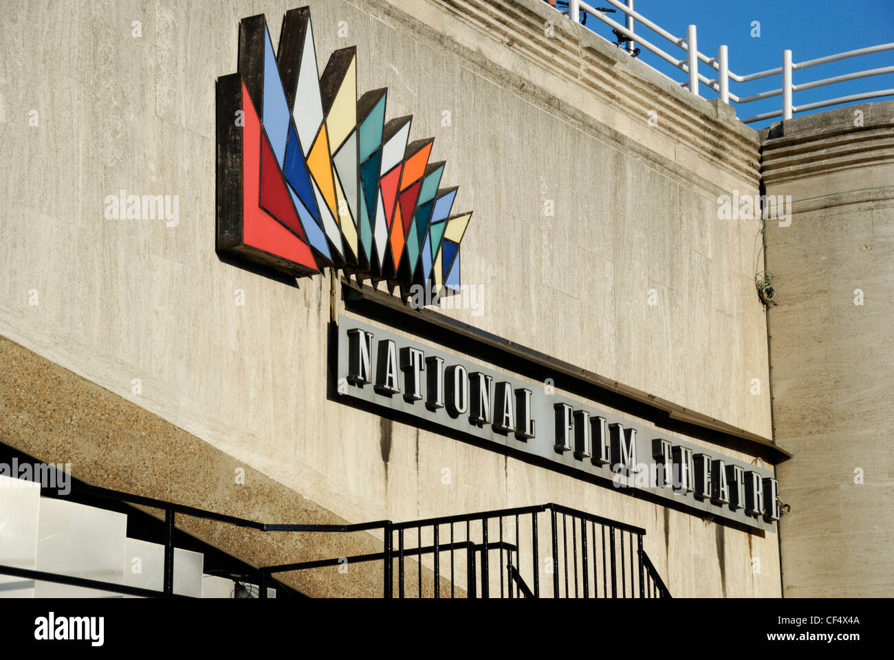 National Film Theatre sign and logo on a wall on the Southbank. - Stock Image