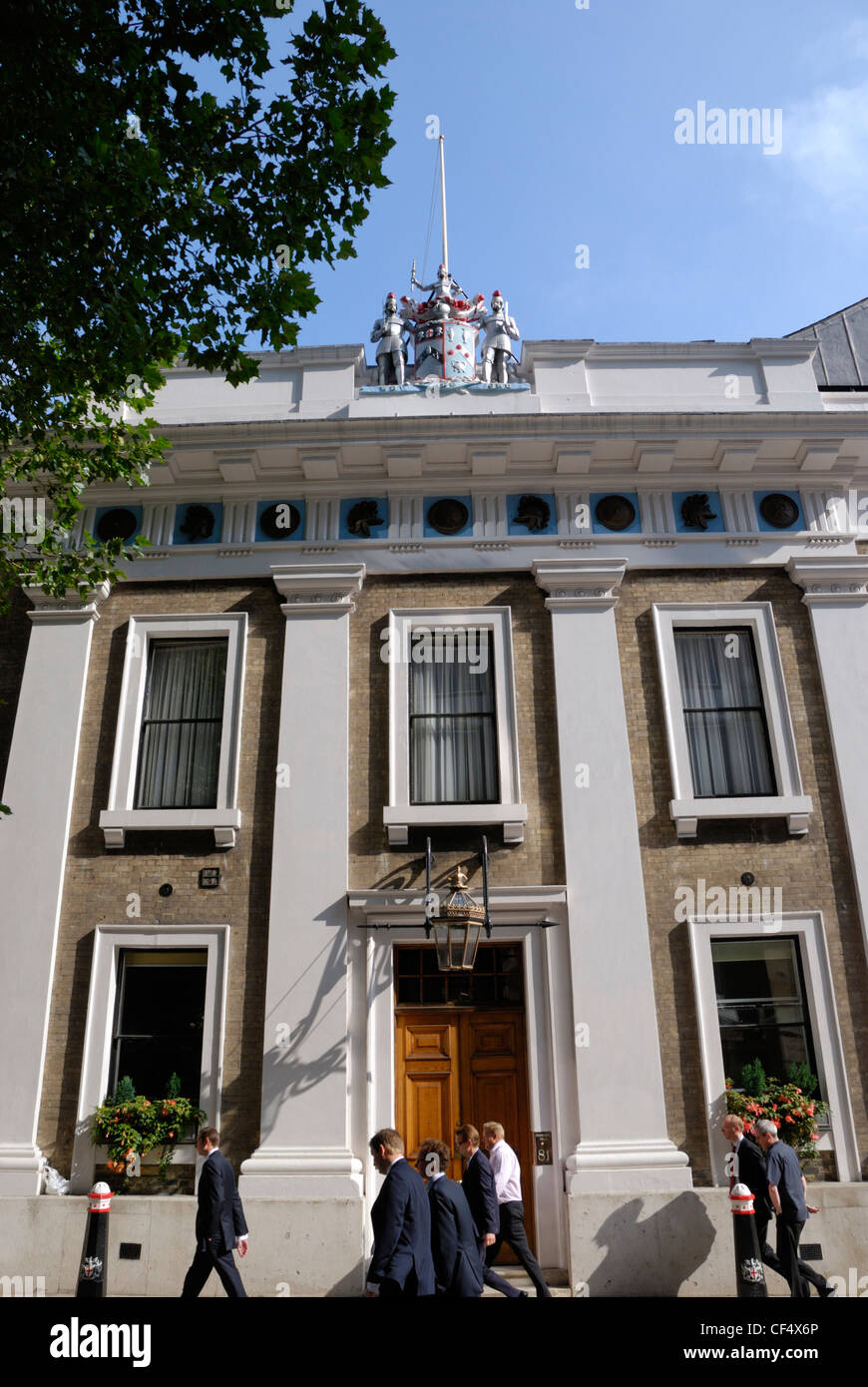 The Armourers' Hall in Coleman Street, one of only a few buildings to escape the Great Fire of London in 1666 - Stock Image