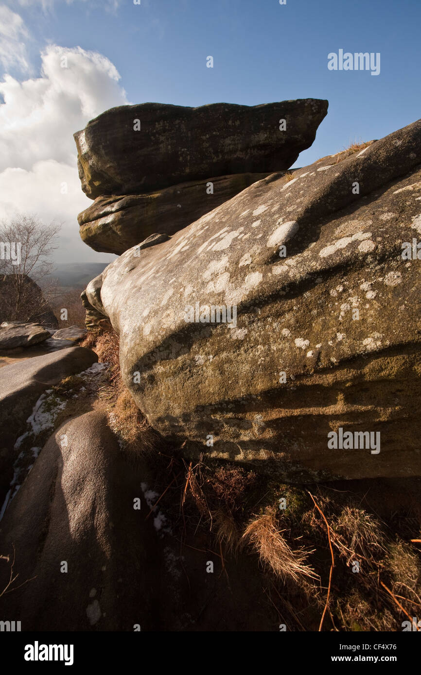 Brimham Rocks, a group of strange rock formations scattered over Brimham Moor. - Stock Image