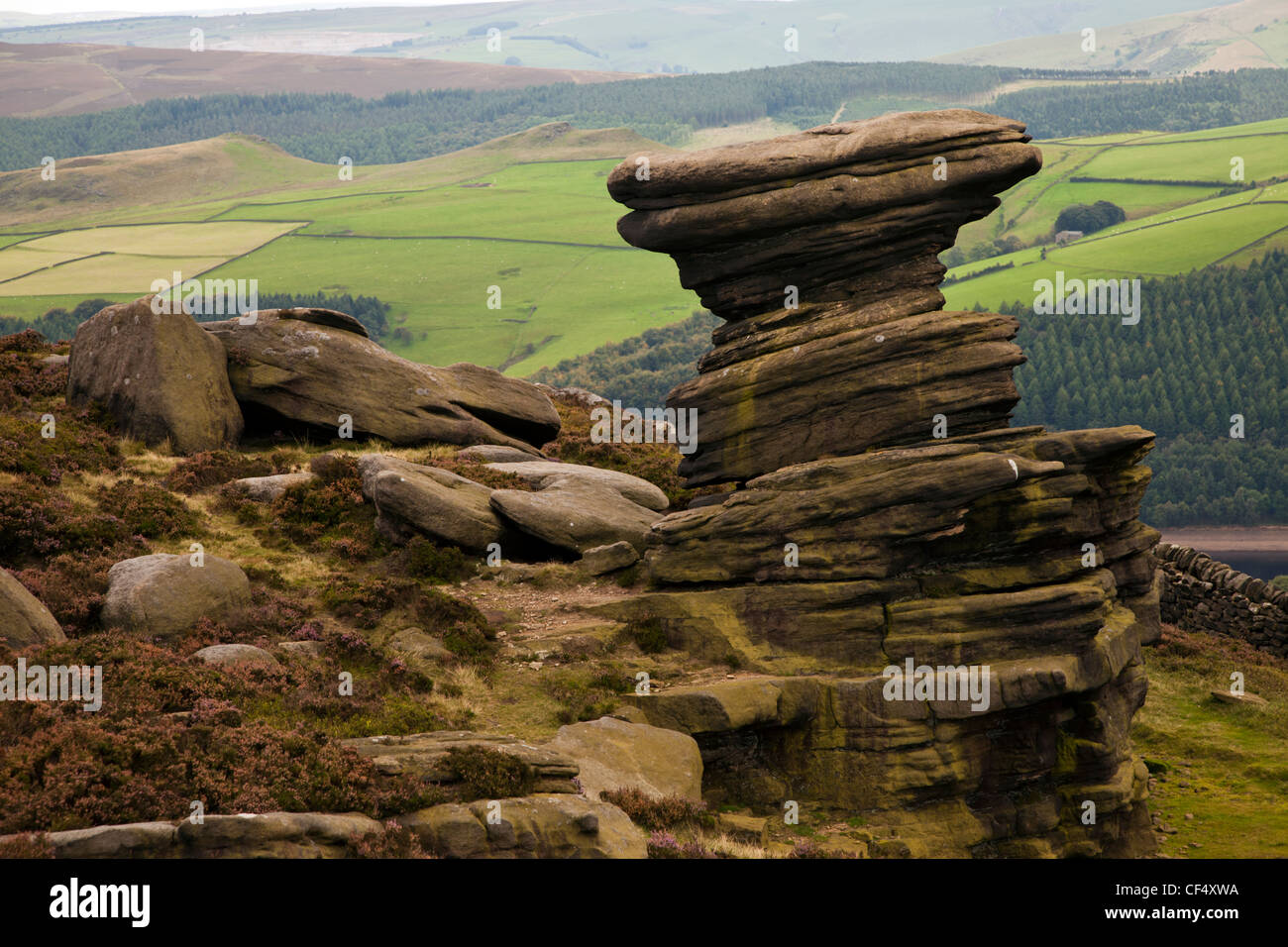 Rock formation near the Derwent and Ladybower reservoirs known as the Salt cellar Derbyshire Peak District England - Stock Image