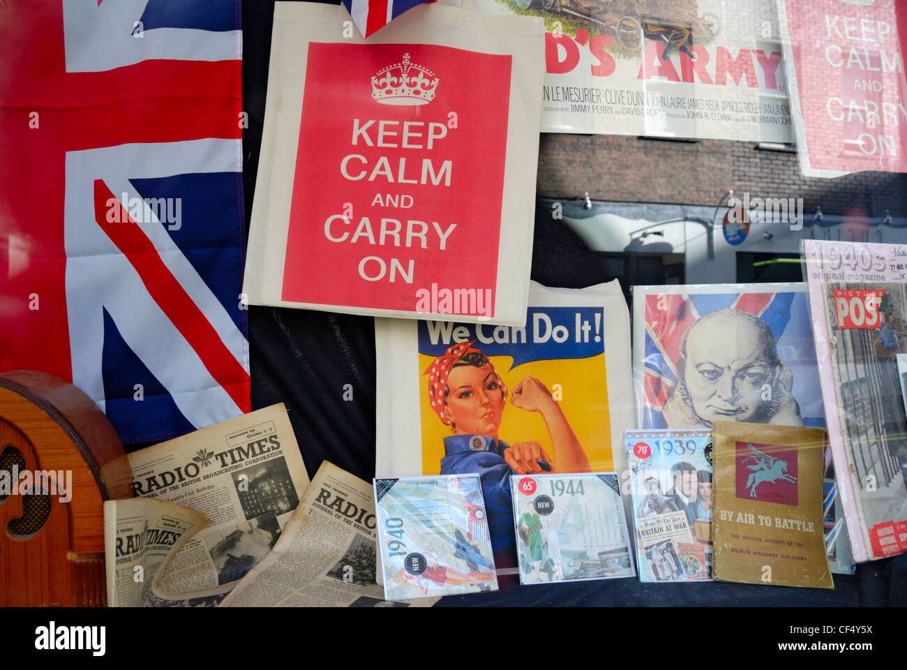 British World War II memorabilia in a shop window. Stock Photo