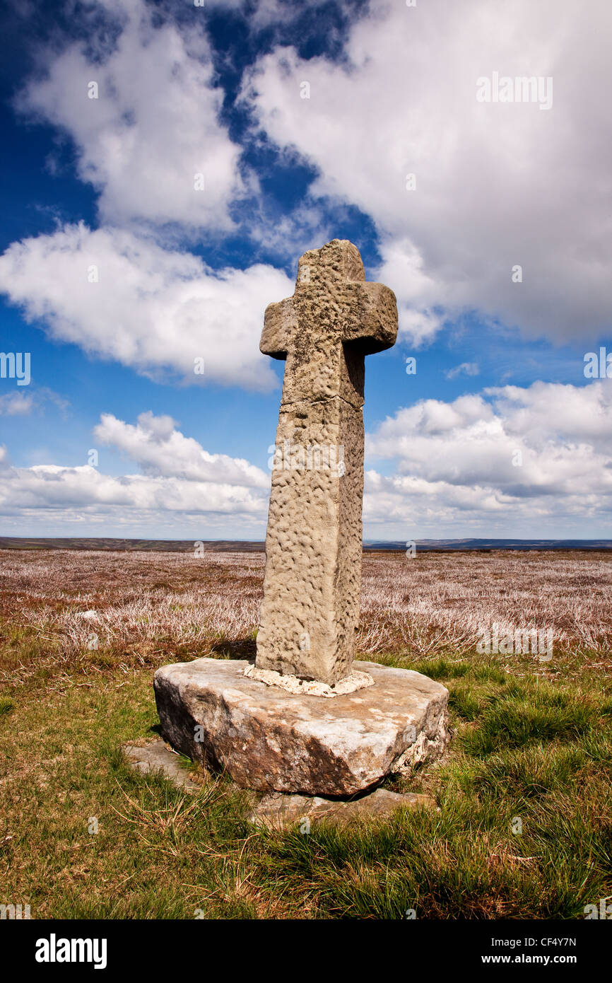 Old Ralph Cross marking the old road from Westerdale to Blakey Ridge on Westerdale Moor in the North York Moors - Stock Image
