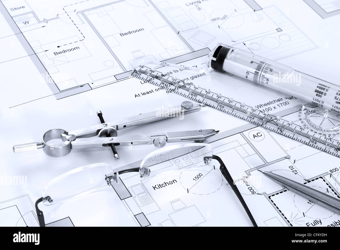 Architectural building plans blueprint stock photos architectural still life photo of architectural floor plans with drawing instruments stock image malvernweather Gallery