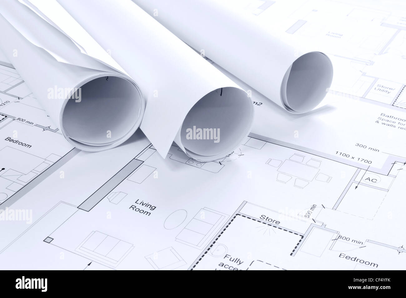Still life photo of some architectural drawings - Stock Image