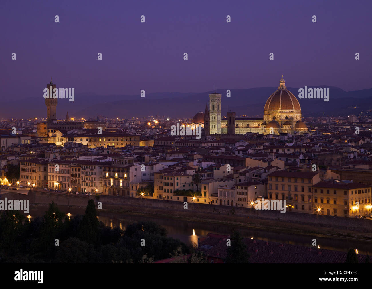 View of the Duomo and Palazzo Vecchio at dawn from Piazzale Michelangelo, Florence, Tuscany, Italy, Europe - Stock Image