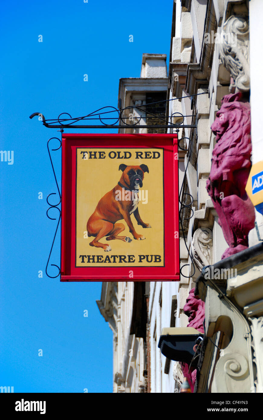 The Old Red Lion Theatre Pub sign projected from the front of the building in St John Street. - Stock Image