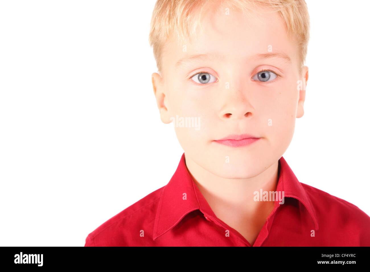 portrait of sadness boy with melancholy eyes. boy wearing shirt. isolated. - Stock Image