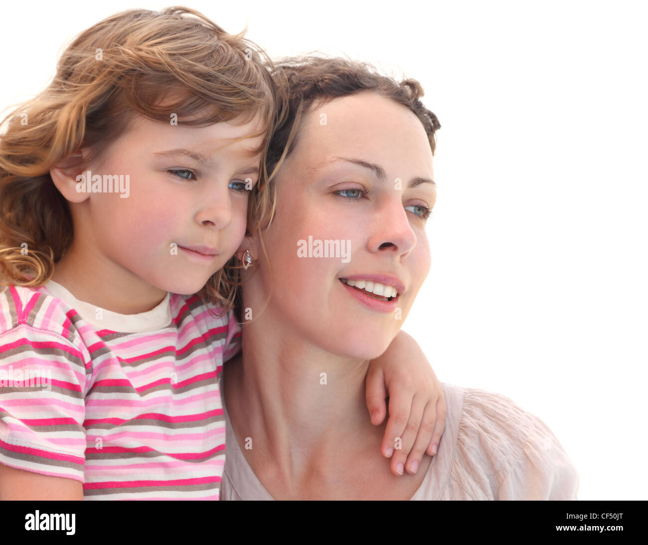 portrait of little girl embracing her mother, half body, isolated on white - Stock Image