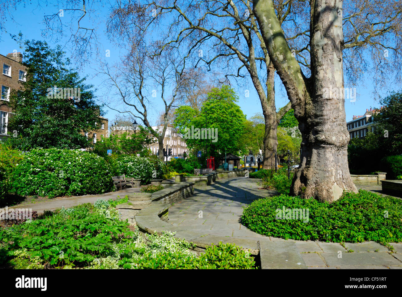 Canonbury Square, originally built in 1807 is considered by many 'the most perfect square in London'. Residents - Stock Image