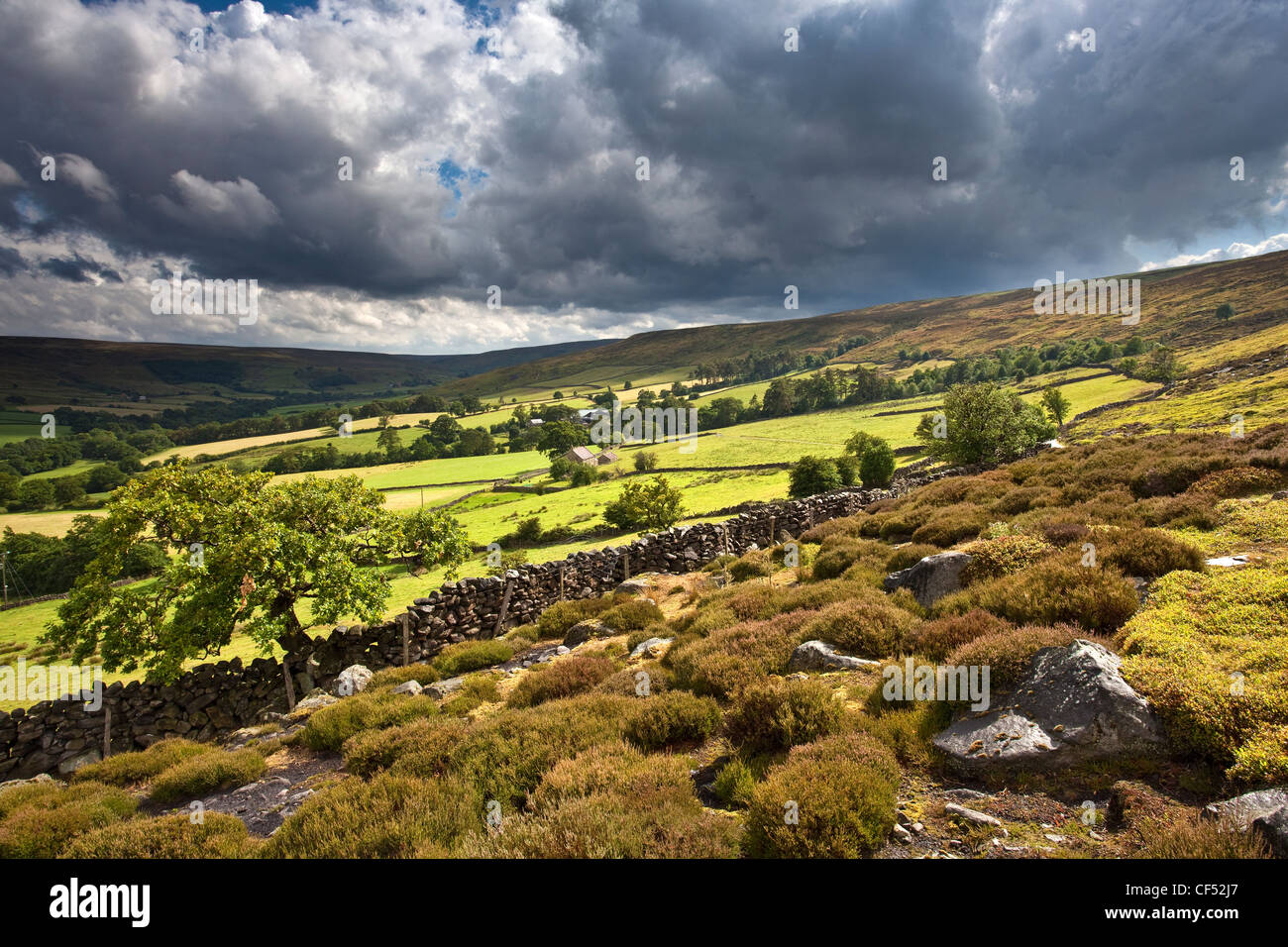 Dark clouds over Westerdale in the North York Moors National Park. - Stock Image