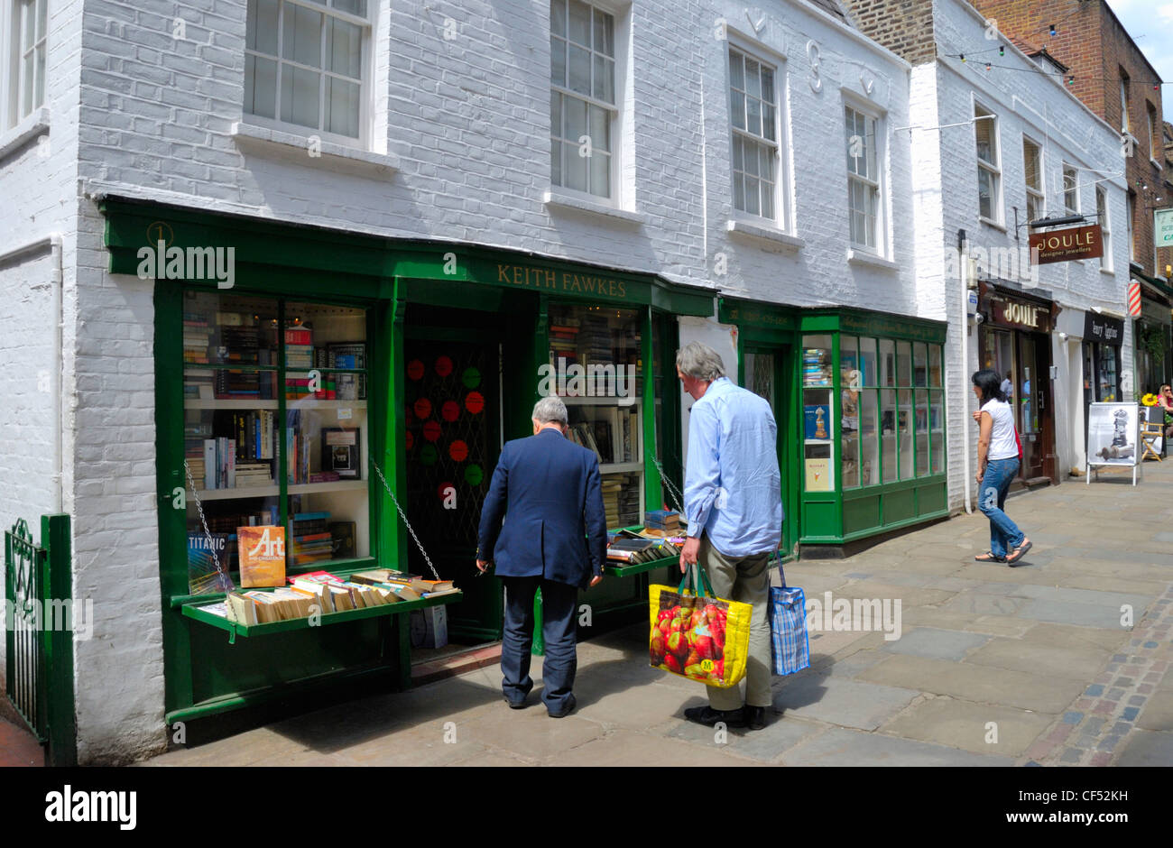 Keith Fawkes rare and second hand booksellers in Flask Walk. - Stock Image