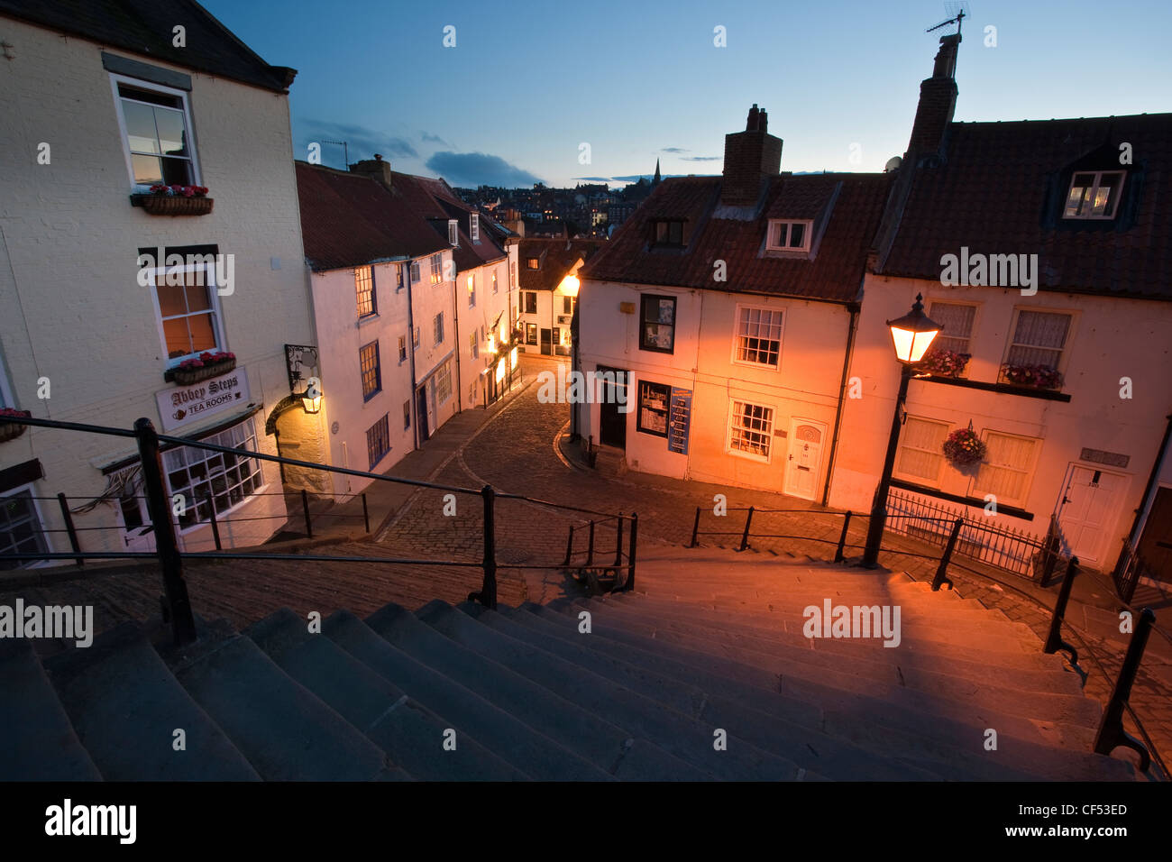 The old town of Whitby at the bottom of the 199 steps that lead up to the top of the East cliff. - Stock Image