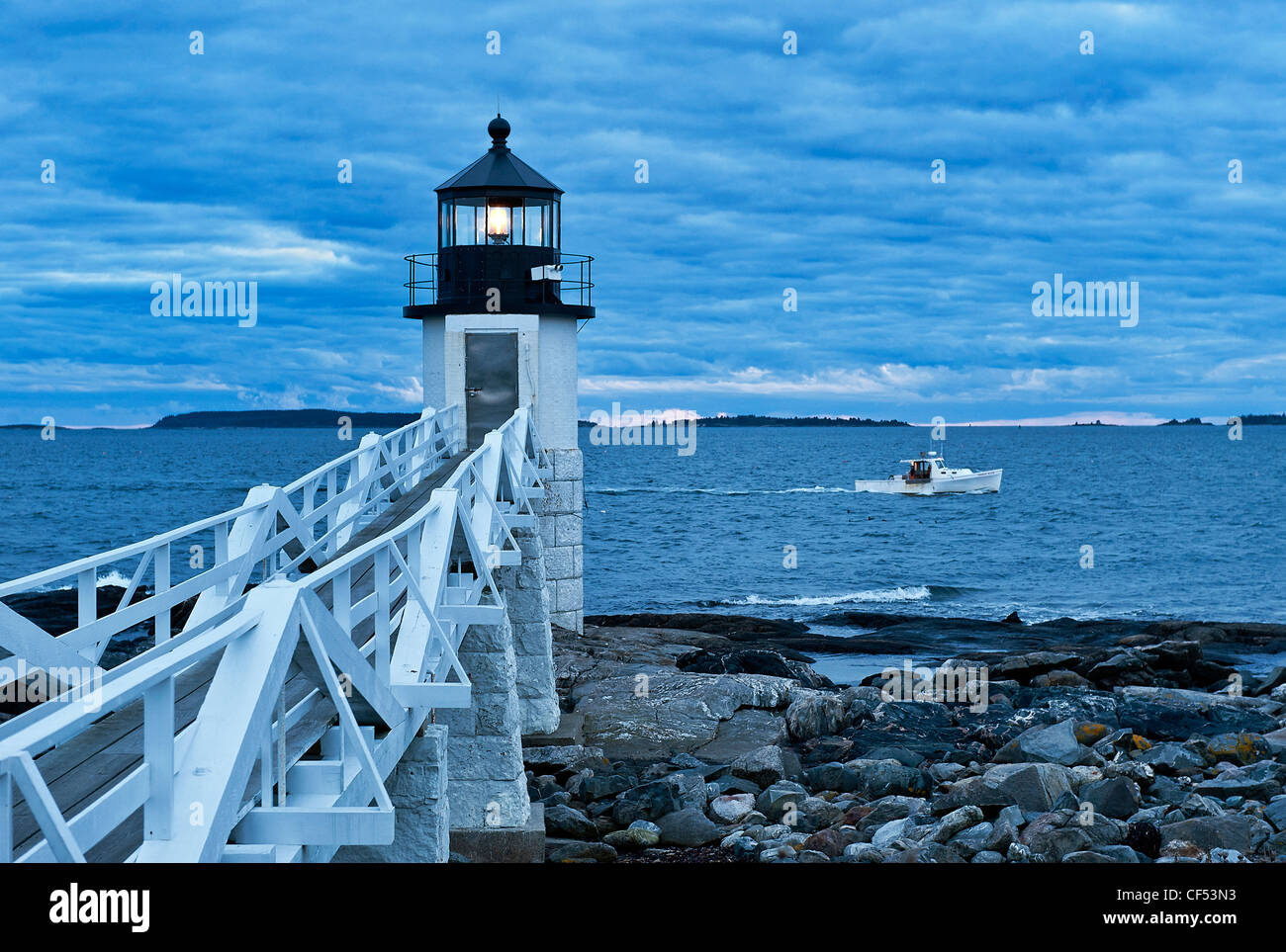 Marshall Point Light, Port Clyde, Maine, USA - Stock Image