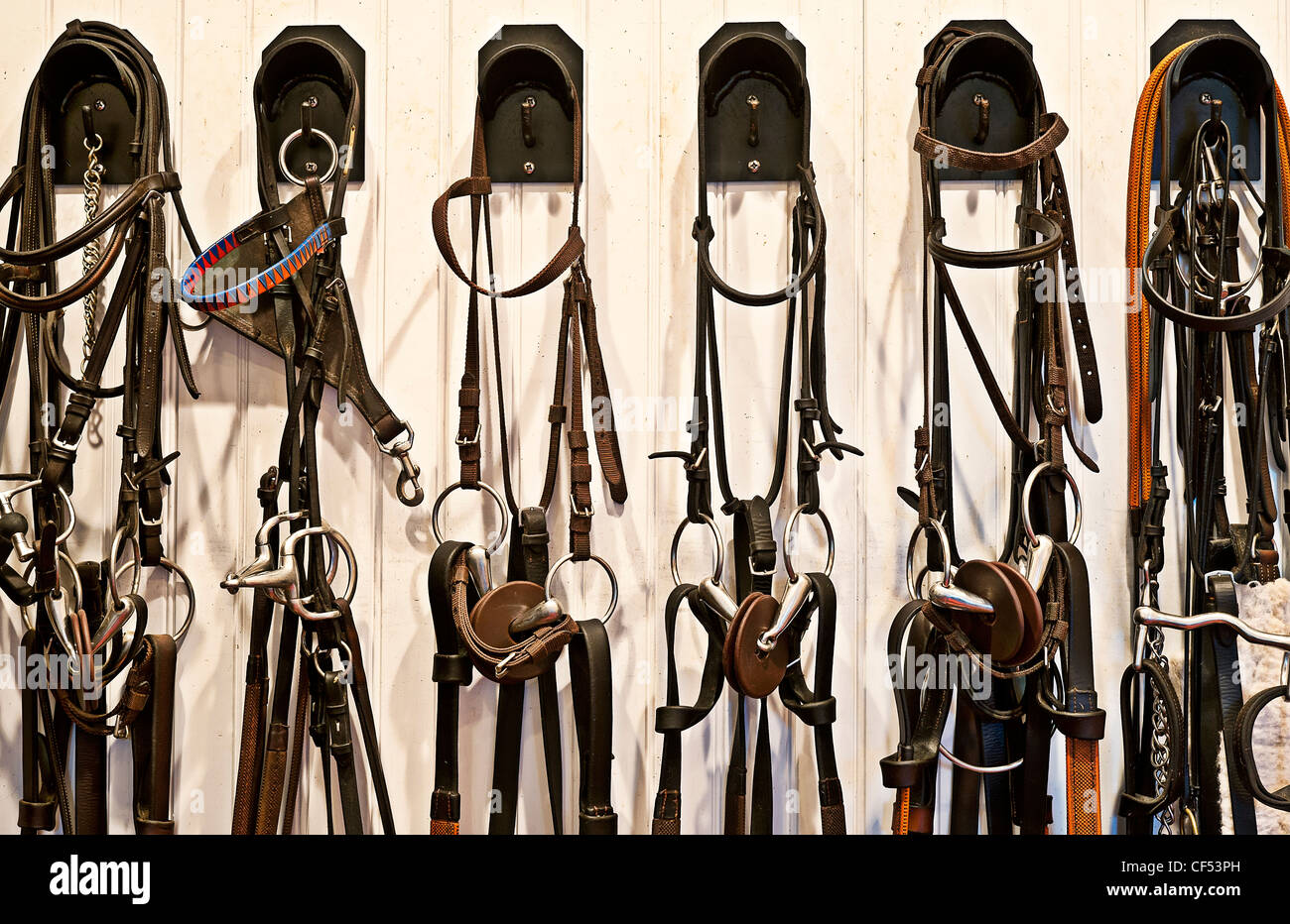 Riding gear in a stable tac room. - Stock Image