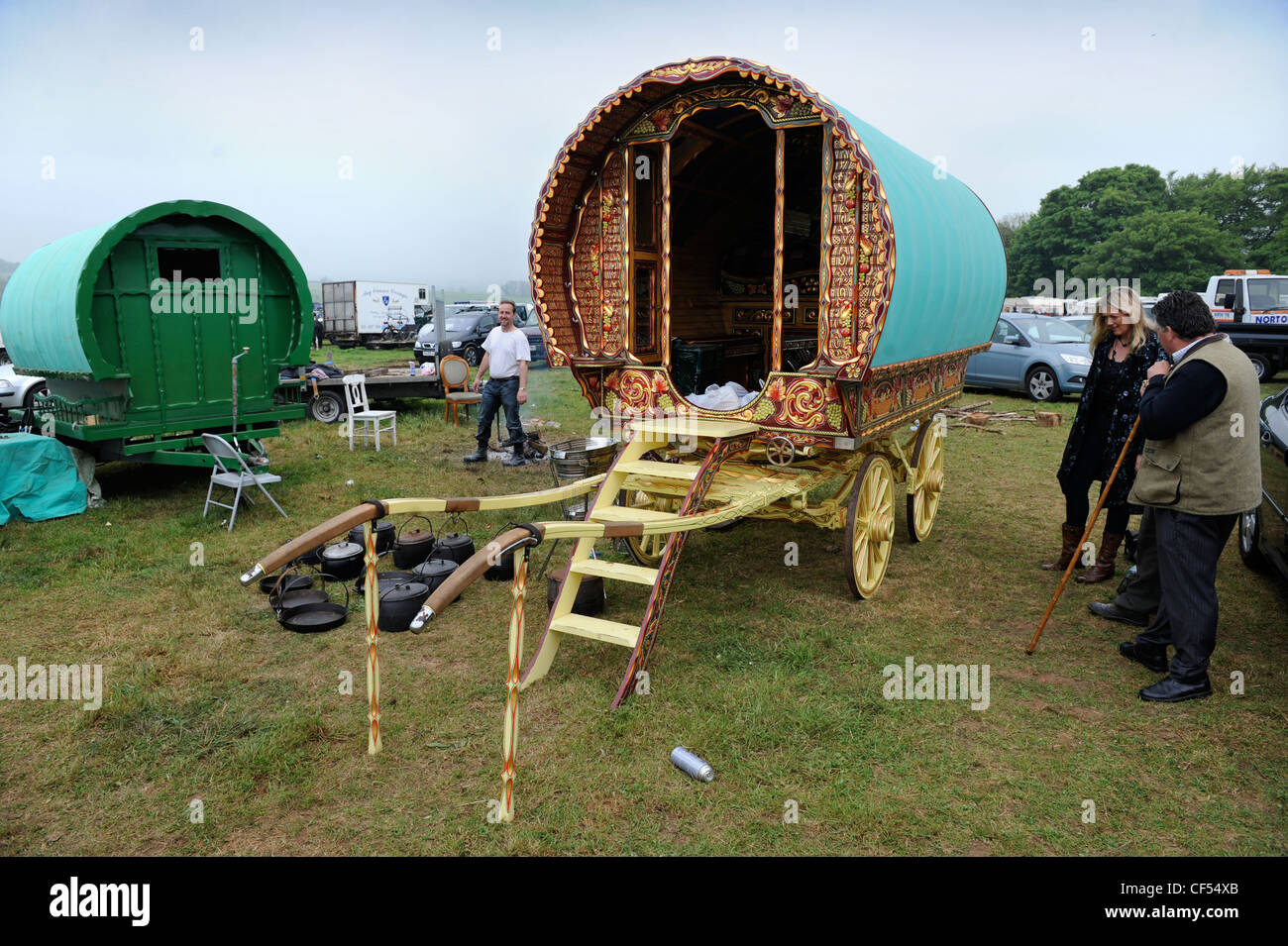 A highly decorative horse drawn caravan or Gypsy wagon at the Stow-on-the-Wold horse fair May 2009 UK - Stock Image