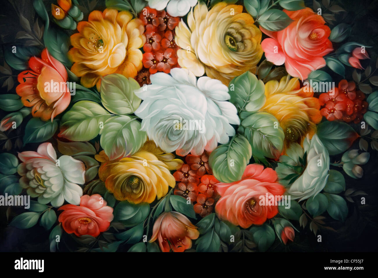 Black tray painted with floral patterns. Russian national crafts. - Stock Image