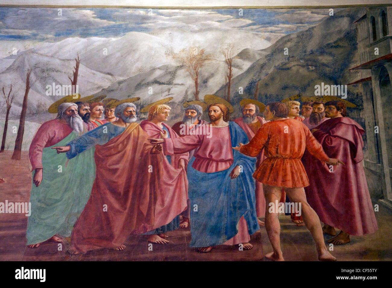 The Tribute Money, by Masaccio, Brancacci Chapel, Cappella dei Brancacci, Santa Maria del Carmine, Florence, Tuscany, - Stock Image