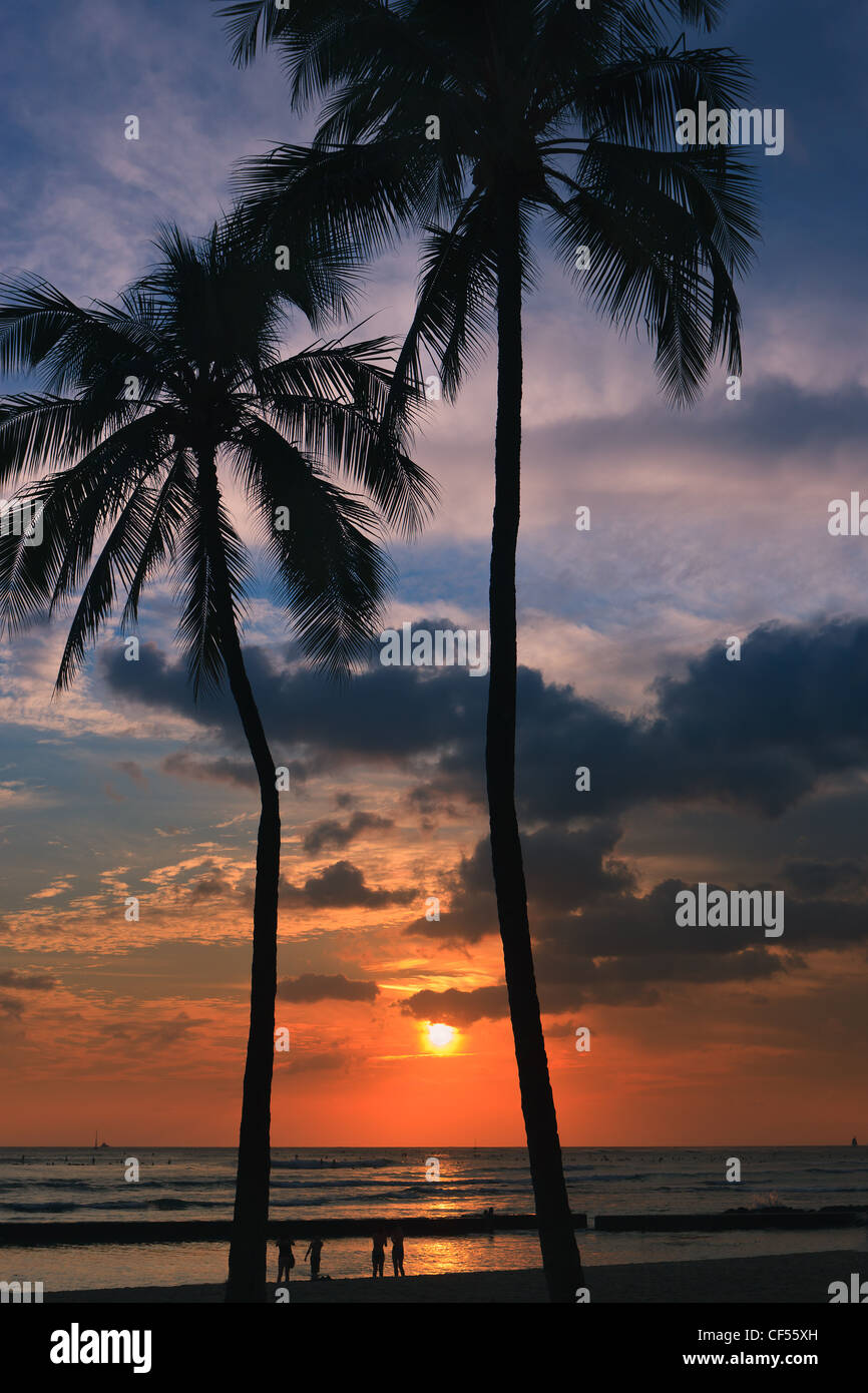 Sunset Waikiki Beach Honolulu Hawaii Stock Photo 43755001