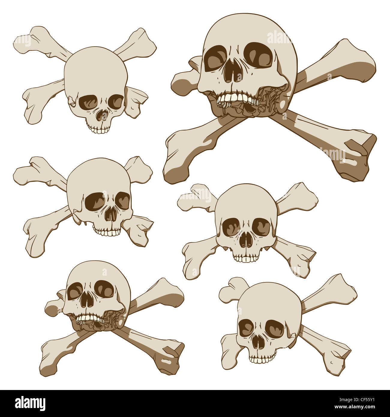 Set of five drawings of human skull with crossbones - Stock Image