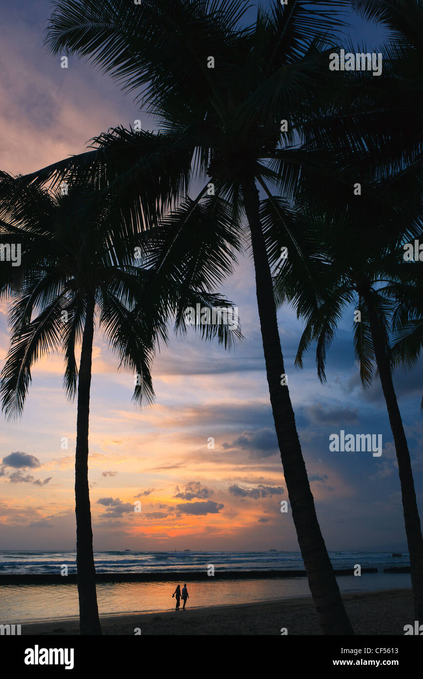 Sunset Waikiki Beach Honolulu Hawaii Stock Photo 43755071