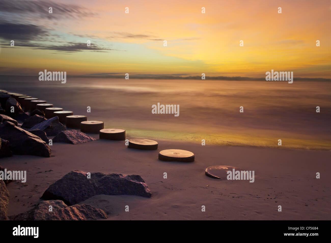 Sunrise at Fort Fisher, North Carolina - Stock Image