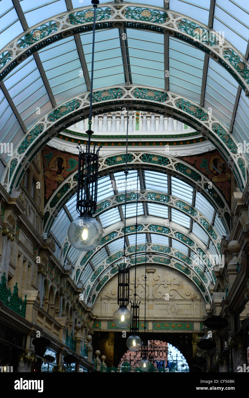 Interior view of the Victoria Quarter County Arcade in Leeds. - Stock Image