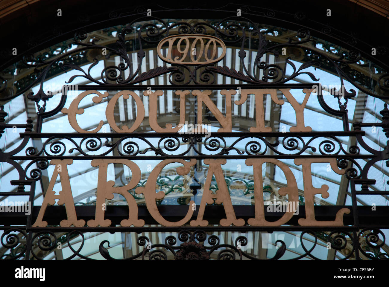 Close up of the Victoria Quarter County Arcade sign in Leeds. - Stock Image