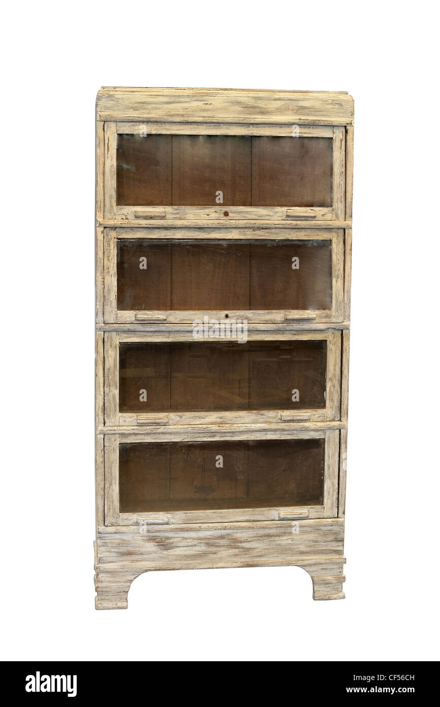 Restored Distressed Antique Bookcase Isolated In White