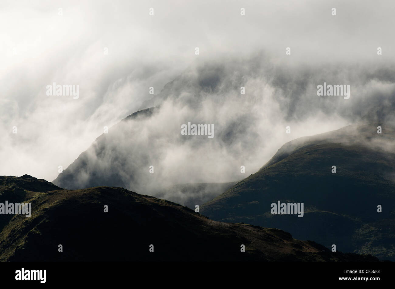 The Snowdon massif and clearing clouds Stock Photo