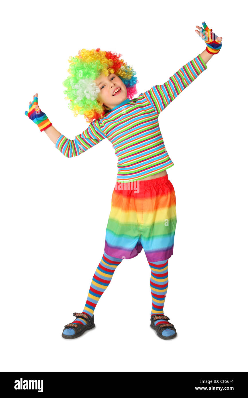 little boy in clown dress standing isolated on white background Stock Photo