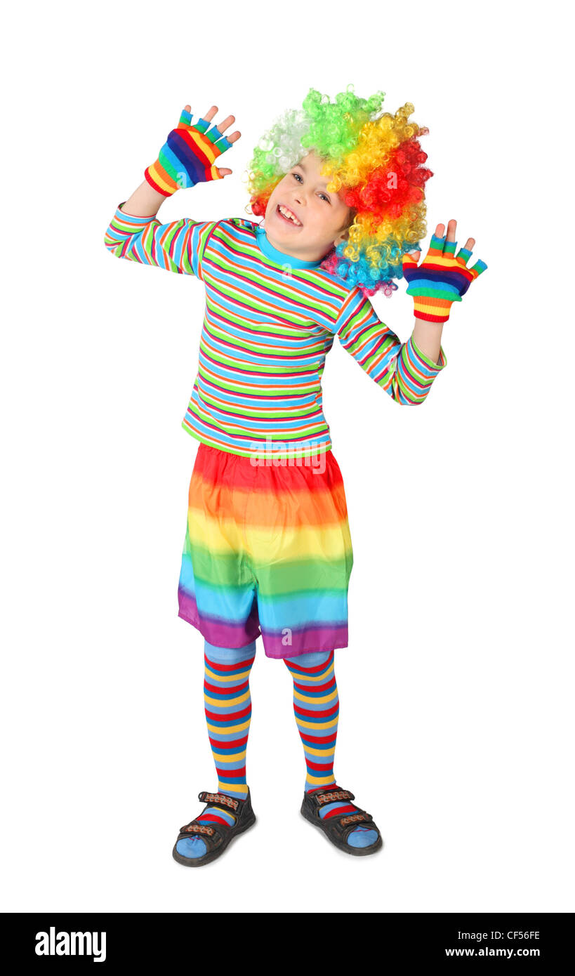 little boy in clown dress hands up isolated on white background Stock Photo