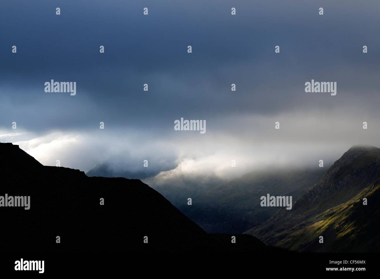 The Llanberis Pass and the Snowdon hills Stock Photo