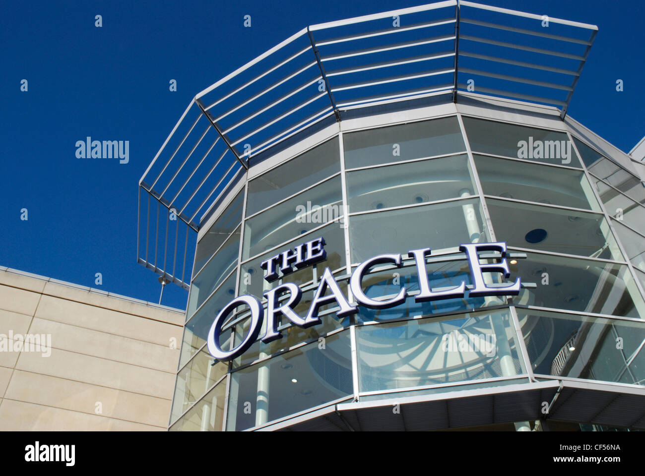 The glass facade and entrance to the   Oracle shopping centre in Reading. Stock Photo