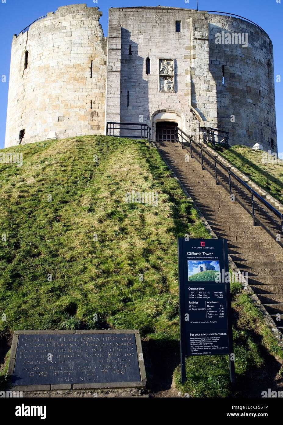 Cliffords Tower, site of a medieval siege and massacre, York, England - Stock Image