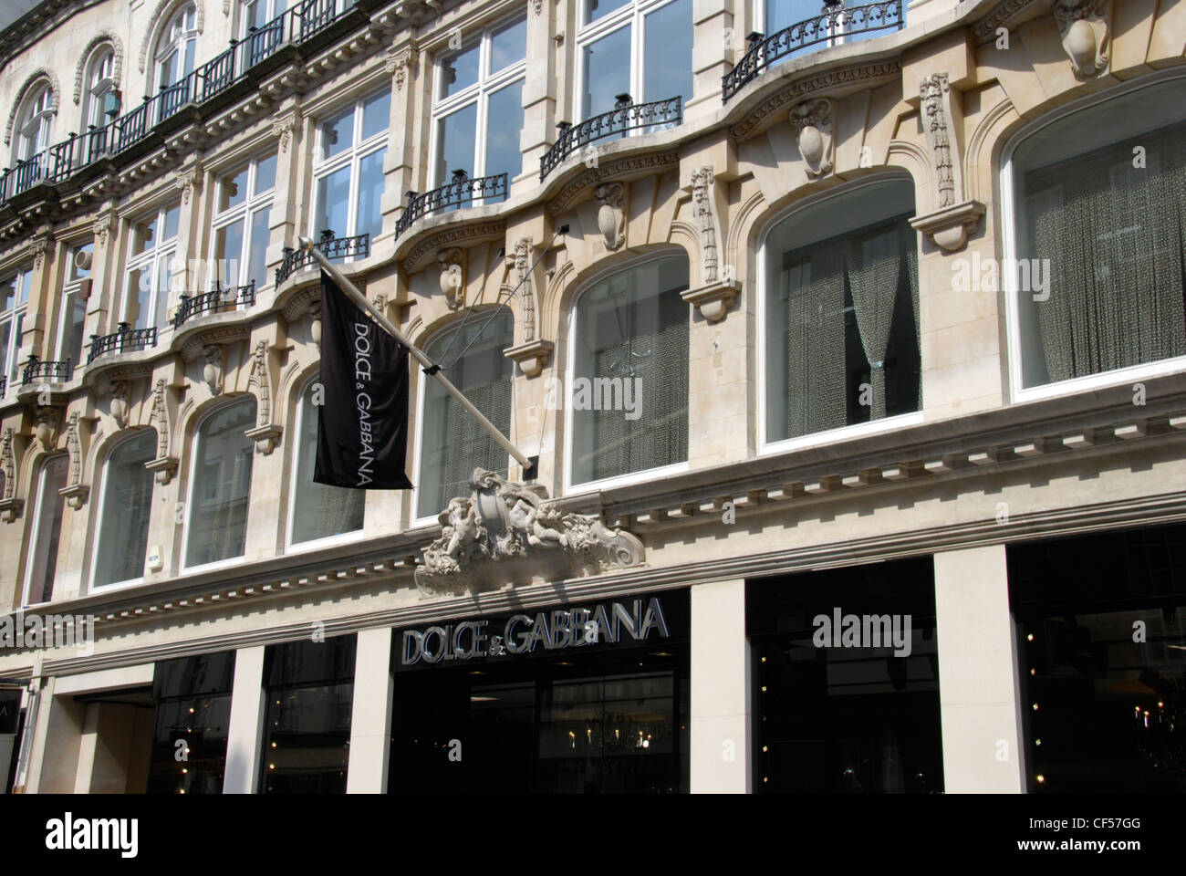 The facade of Dolce and Gabbana desiger fashion store on Old Bond Street. - Stock Image
