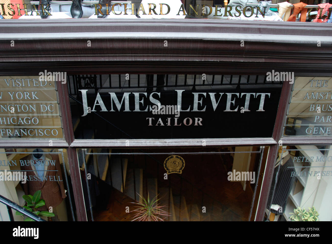 Looking down to the James Levett traditional bespoke tailor on Saville Row. - Stock Image
