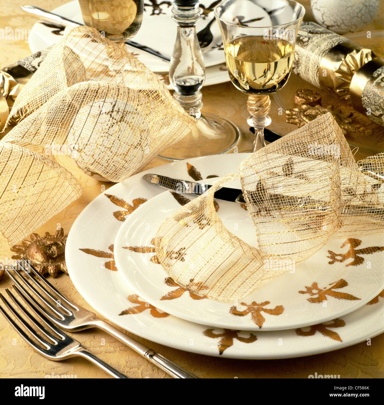 A special gourmet feast Table setting with white and gold fleur de lys plates crackers gold ribbon and glasses of white wine & A special gourmet feast Table setting with white and gold fleur de ...