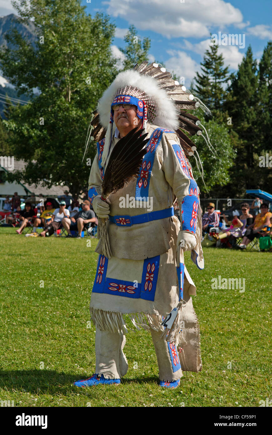 Waterton Lakes National Park Buckskin Dance at the Blackfoot Arts & Heritage Festival Pow Wow organized by Parks - Stock Image