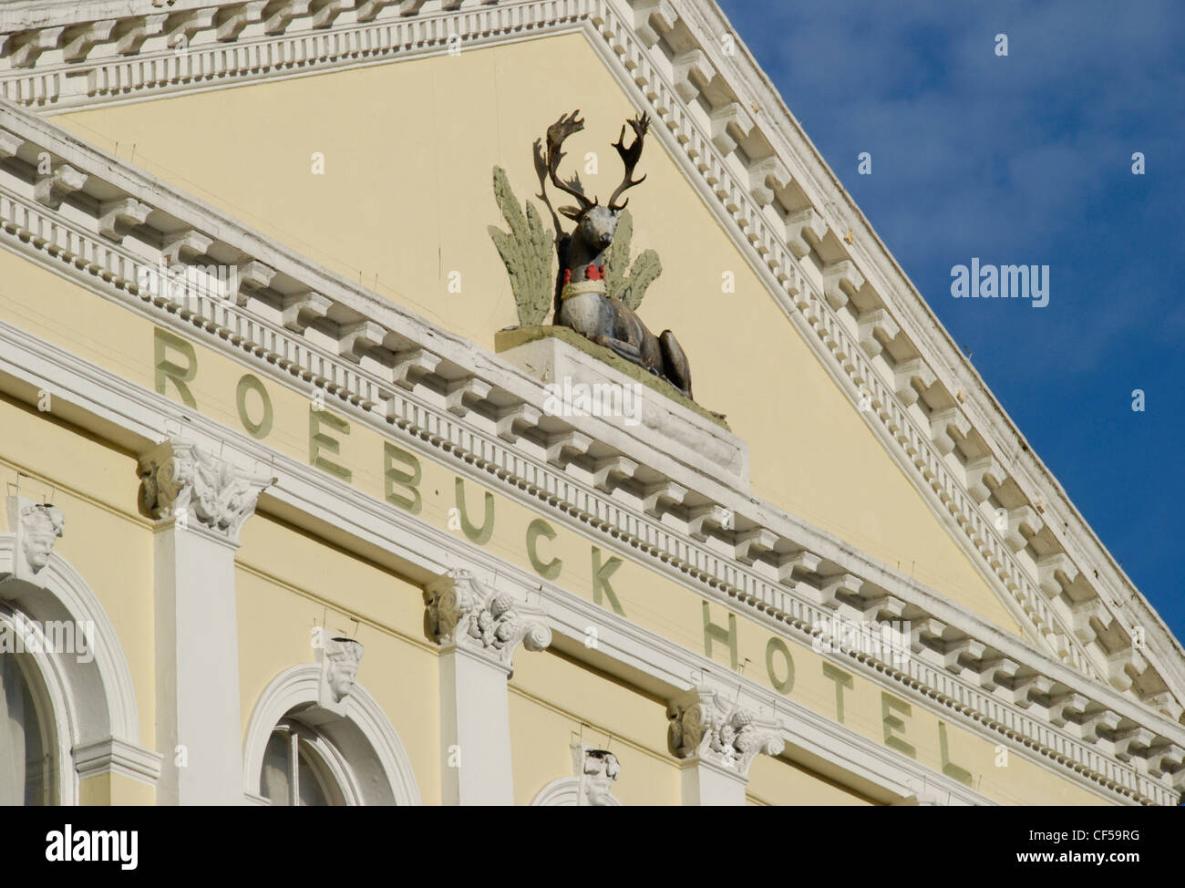 Architectural detail from the front of the Roebuck Hotel in Pond Street. - Stock Image