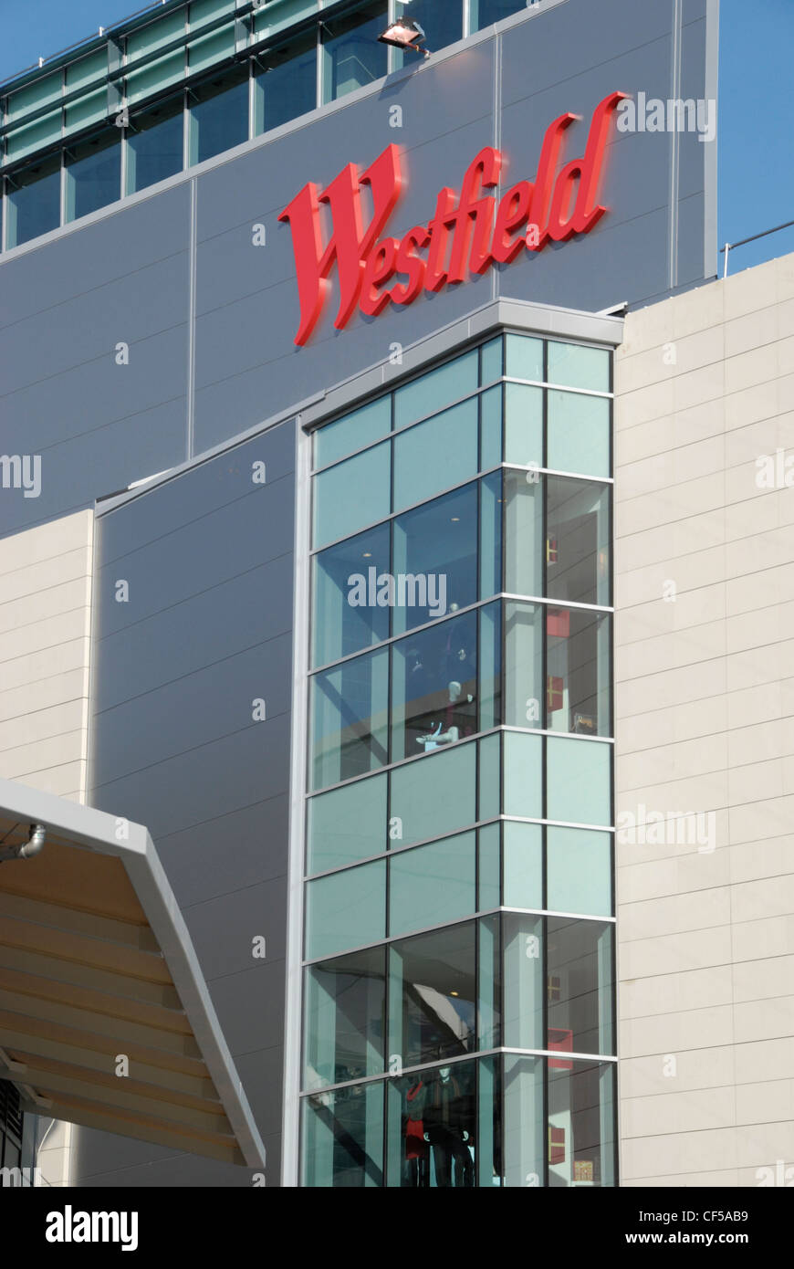 The Westfield Shopping Centre sign and exterior in Shepherds Bush. Stock Photo