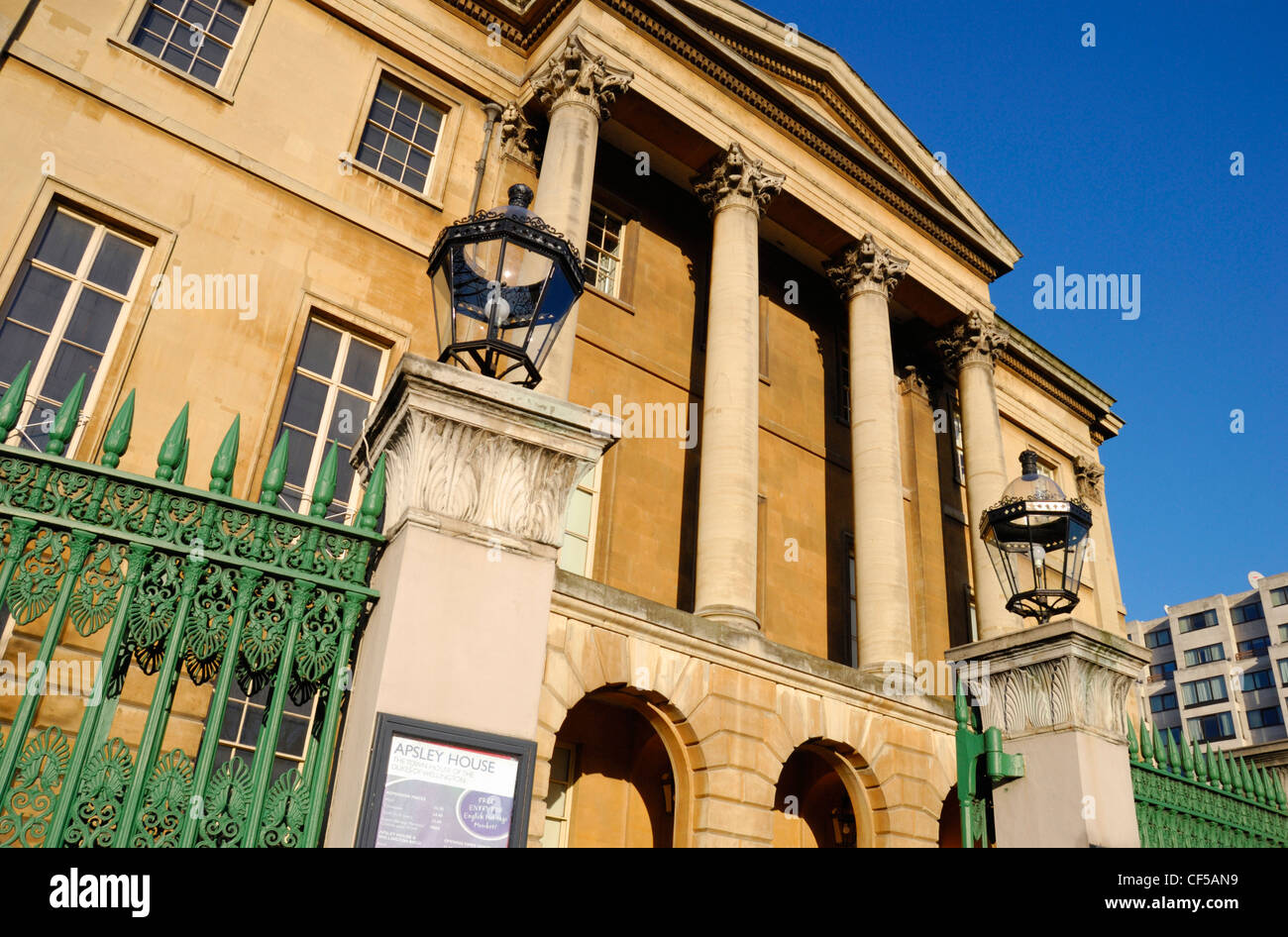 The facade of the historic Apsley House at Hyde Park Corner. - Stock Image