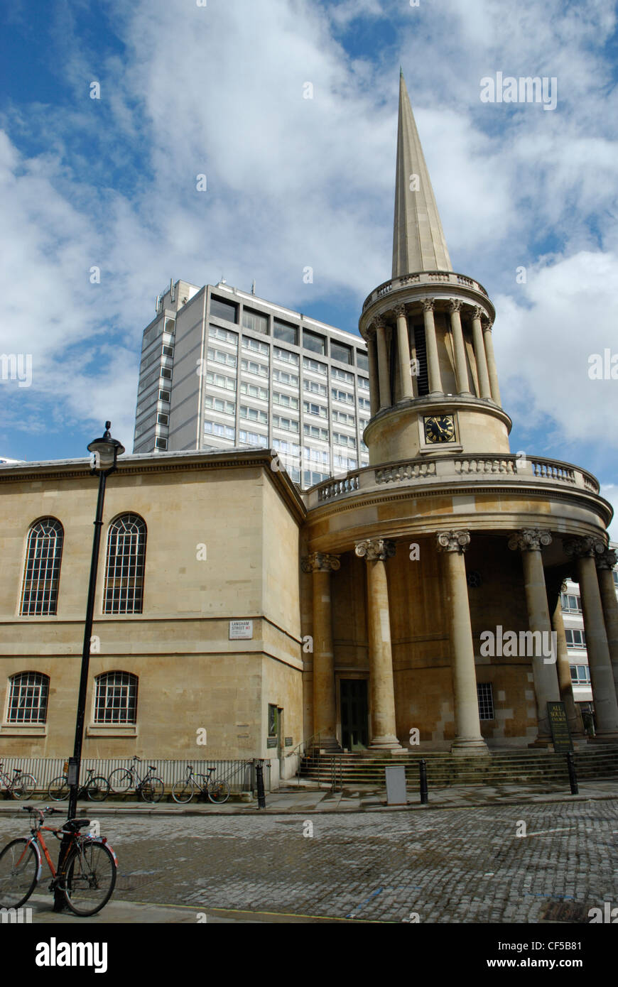 The exterior of All Souls Church in Langham Place - Stock Image
