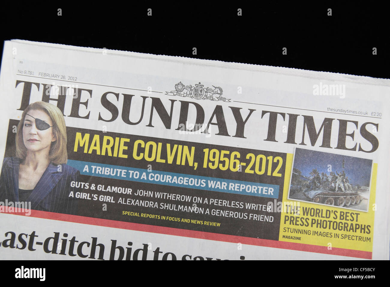 The front page of The Sunday Times,a British national Sunday newspaper.  (26th Feb 2012) - Stock Image