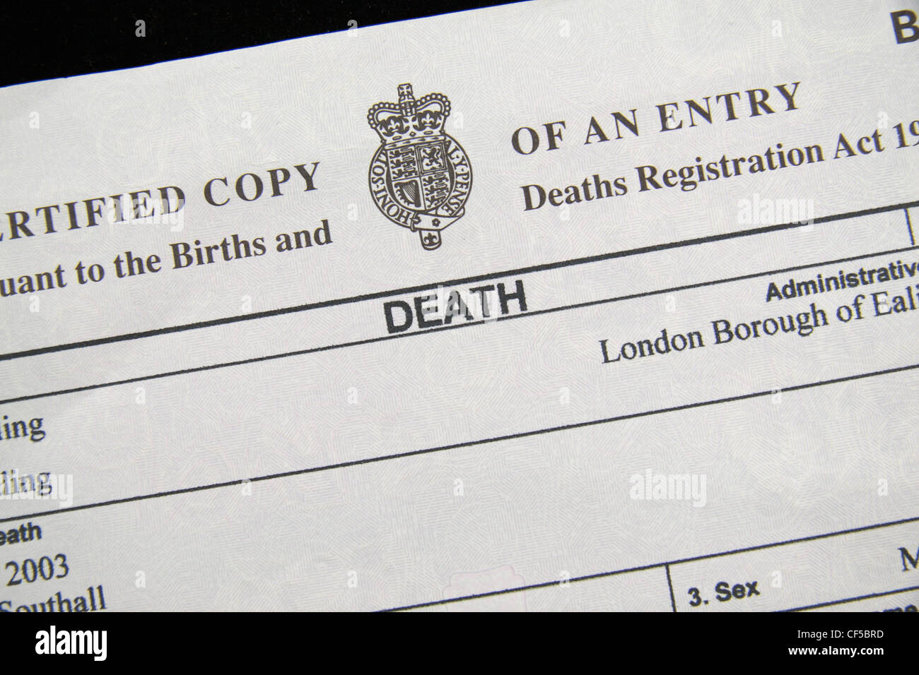 Close up of the top of a UK Death Certificate (pursuant to the Stock ...