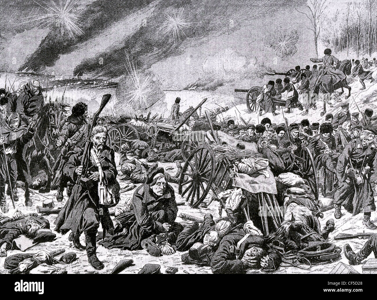 RUSSO-JAPANESE WAR  Russian troops at the Battle of Mukden 1905 - Stock Image