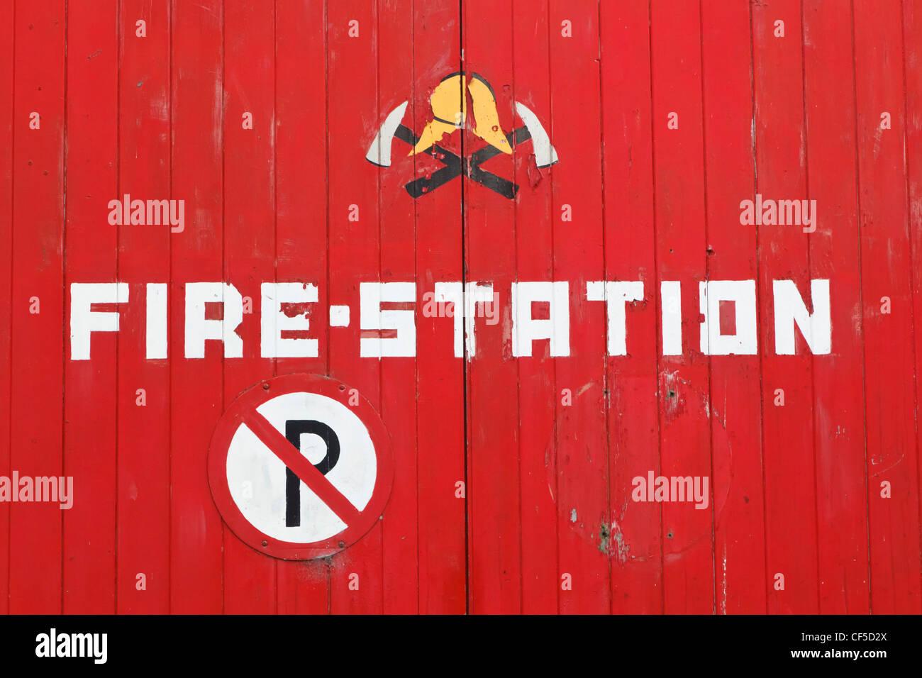 Macroom, County Cork, Republic of Ireland. Sign on Fire Station door. - Stock Image