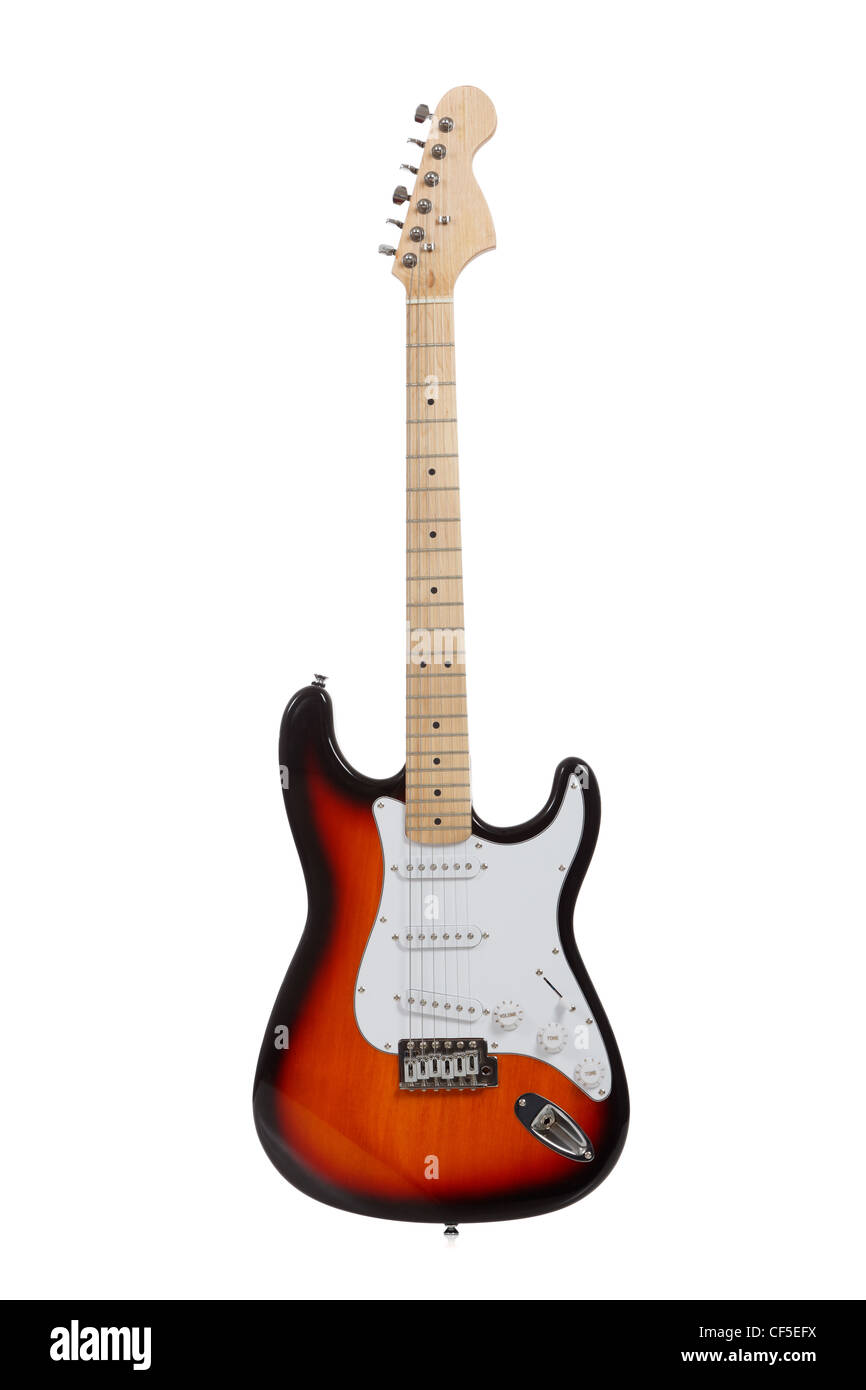 A electric guitar on a white background - Stock Image