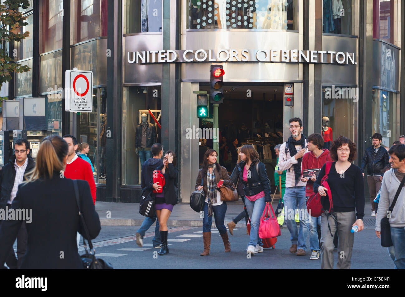 A United Colors of Benetton shop in central Madrid, Spain. - Stock Image