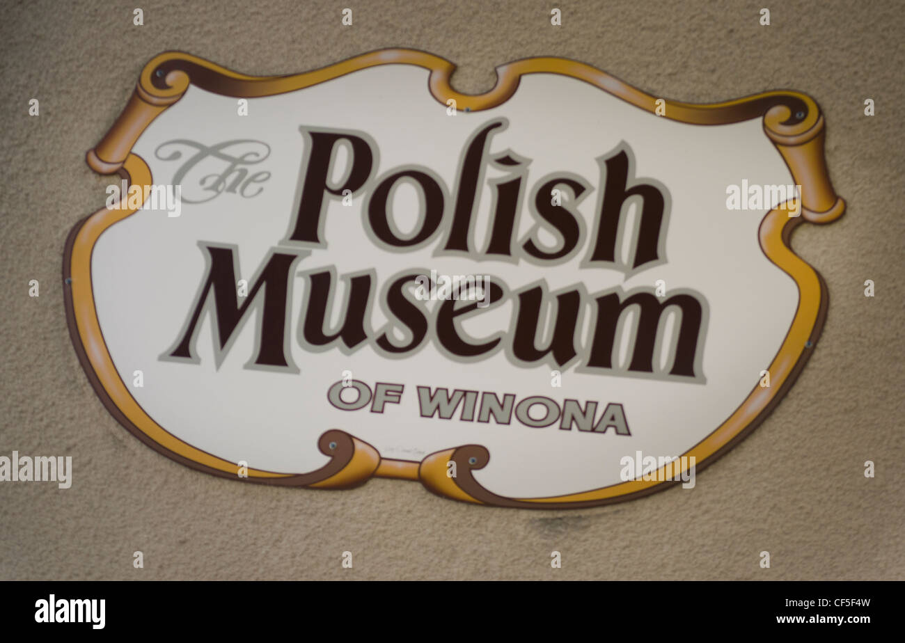Sign for the Polish Museum in Winona, Minnesota which has exhibits telling the story of Polish immigrant history. - Stock Image