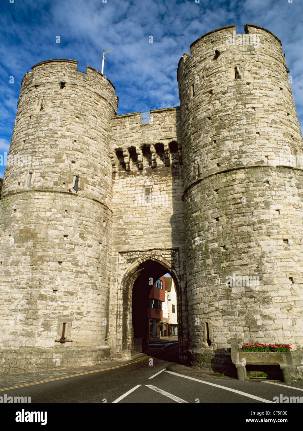 The West Gate, completed in 1380, is the only survivor of the seven gates of the Medieval town. Now a museum of - Stock Image